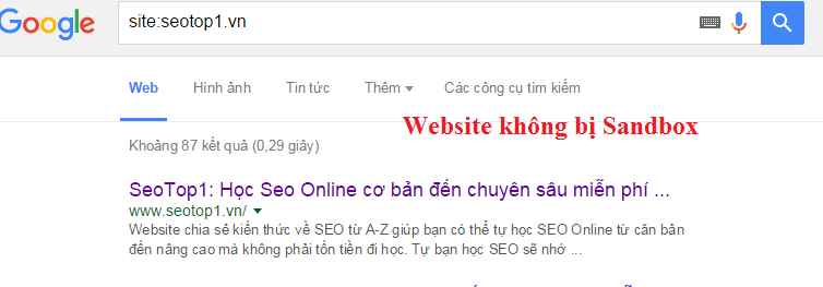 Website không bị Sand Box