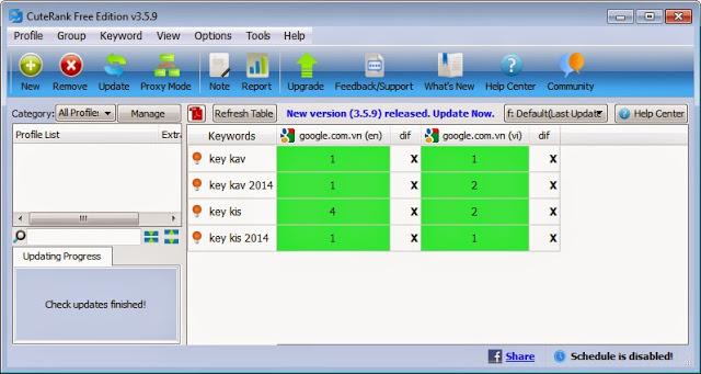 CuteRank Checker phần mềm kiểm tra thứ hạng từ khóa