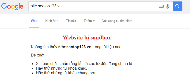 Website bị Sand Box