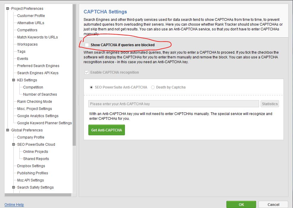 Bật Captcha cho phần mềm