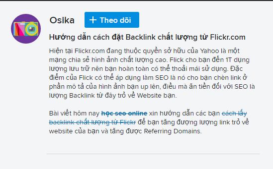 Đặt Backlink Flickr thành công
