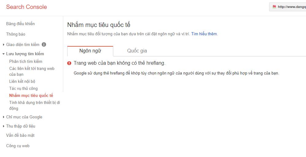 Hình ảnh Google Webmaster Tool báo Web thiếu thẻ Hreflang