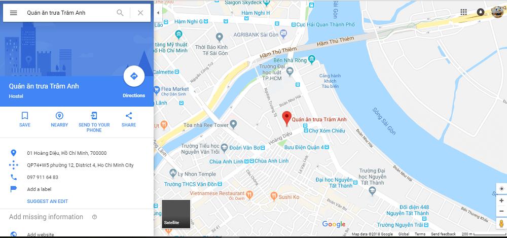 Địa điểm của doanh nghiệp trên map